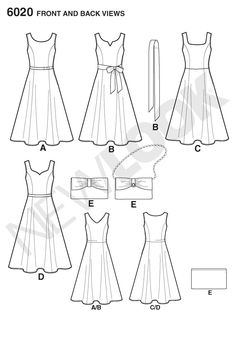 Simplicity 6020Misses' Dresses & Purse  New Look easy sewing pattern misses' dress with sash and purse.  $4.29