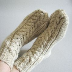 Hand Knitted Socks - Made of Hand Spun Unbleached Wool Yarn - Natural, Organic Wool