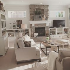 Open concept great room with modern farmhouse style. Interior design by Janna Allbritton of Yellow Prairie Interior Design.