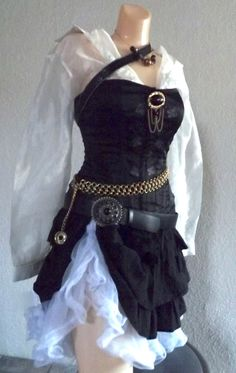 Halloween Costume - Small Women's Pirate Costume - Complete with Belts, Jewelry, Skirt, Sheer Blouse & Corset