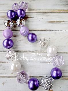Sofia the First Inspired Silver White Purple and Lavender Chunky Necklace by babyzdesigns