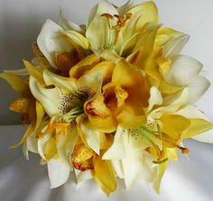 Wedding Orchid and Lily Bridal Bouquet Floral Package,   Real Touch Orchid Bridal Bouquet,   Beach Destination Wedding Flowers. $220.00, via Etsy.