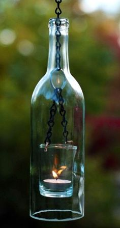 Wine bottle made into a hanging candle holder