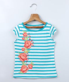 This Blue Stripe 'Summer Brights' Cap-Sleeve Top - Toddler & Girls by Beebay is perfect! #zulilyfinds