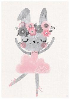 Set of 3 Baby bunny ballerina nursery art Girls Room Kids Prints, Baby Prints, Nursery Prints, Nursery Wall Art, Ballerina Nursery, Baby Ballerina, Lapin Art, Clipart Baby, Dinosaur Nursery
