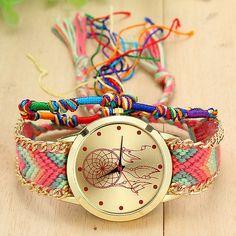 Handmade Braided Dreamcatcher Friendship Bracelet Watch - free shipping worldwide