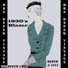 Vintage Sewing Pattern 1930's Blazer Jacket with Wide by Mrsdepew