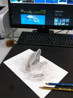 Dolfin pencil 3D drawing
