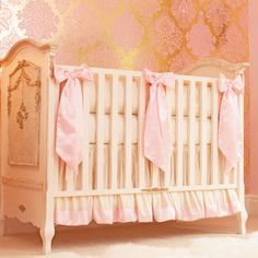 Little Crown Interiors Ivory & Pink Silk Crib Bedding Set