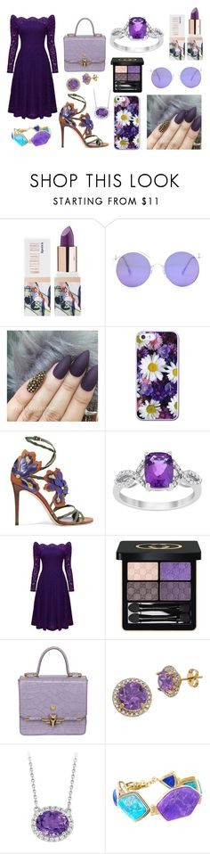 """Purple Outfit"" by unicorn1019 ❤ liked on Polyvore featuring Teeez, Jimmy Choo, Gucci, Trussardi, Lord & Taylor and Barse"