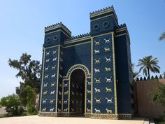 In the early 20th century German archaeologists transported the original Ishtar Gate from Babylon, Iraq, to a Berlin museum. In the 1980s the Saddam Hussein regime reconstructed this two-thirds size replica at the entrance to the site.
