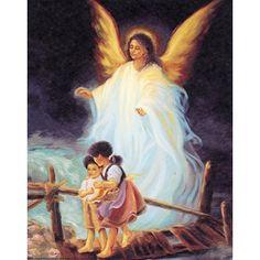 guardian angel watches children over bridge | Poster Black Guardian Angel Watching Over Children Art Poster Print ...