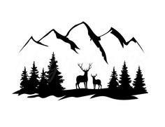 Forest Silhouette, Mountain Silhouette, Deer Silhouette, Silhouette Painting, Pine Tree Silhouette, Silhouette Images, Hirsch Silhouette, Gravure Laser, Wrangler Accessories