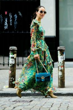 The floral maxi dress trend I can't get enough of -- my top picks from Ganni, Rachel Zoe, and Misa Los Angeles, inspired by fashion week 2017 street style.