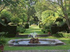 scène d'eau dans jardin verdoyant