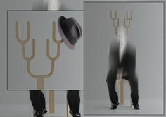 "It's called the ""Antler Stool,"" designed by Kim jiyoun, who tells us that this stool turns any normal man into ""Antler-Man"" instantly!    This chair has many secondary uses, like hanging your hat upon it, for instance, but in the end the main function of this instrument is to inspire a happy emotion in the person on the receiving end, that being the person having a giggle at the person sitting in the seat."
