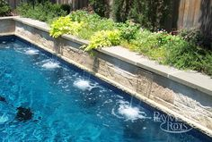 Narrow pool + water features