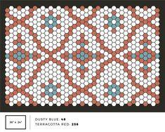 Tile Mat Inspiration – Letterfolk Hexagon Quilt Pattern, Hexagon Quilting, Patchwork Patterns, Bead Patterns, Duplex Design, Floor Puzzle, Contemporary Quilts, Style Tile, English Paper Piecing