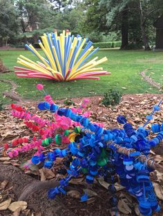 Installation made from plastic bottle caps and pool noodles from the 'Upcycle - Not Just a Brush' Exhibition. Hazelhurst Regional Gallery. Nicole Gizas, art teacher