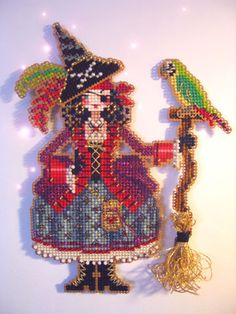 counted cross stitch kit : Polly the Pirate Witch Brooke's Books Halloween embroidery Beaded Cross Stitch, Counted Cross Stitch Kits, Cross Stitch Charts, Cross Stitch Designs, Cross Stitch Embroidery, Cross Stitch Patterns, Embroidery Patterns, Halloween Embroidery, Halloween Cross Stitches