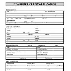 commercial credit application form template
