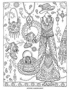 Boho Chic ~ Fanciful Fashions Coloring Book I Margorie Sarnat
