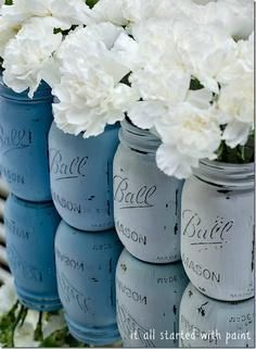 Ombre Dusty  Blue painted mason jars. Easy cute decorations for Ashley wedding.