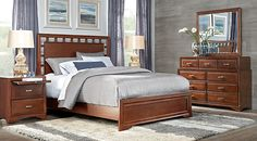 Belcourt Cherry 5 Pc King Lattice Bedroom from  Furniture