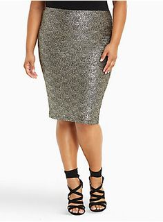 "Size 3 <div>Shimmer, dazzle, glimmer, this skirt is gonna light up any look. Crinkled gold metallic sparkles on the super-stretchy black knit pencil skirt. Perfect for a party and totally radiant, this look may blind once the sun comes up.</div><div><ul><li style=""LIST-STYLE-POSITION: outside !important; LIST-STYLE-TYPE: disc !important"">Size 1 measures 25 1/2"" from center front</li><li style=""LIST-STYLE-POSITION: outside !important; LIST-STYLE-TYPE: disc !"