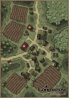 OC] Village map of Longbarrow : DnD Village map Dnd world map Fantasy city map