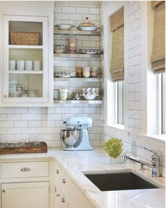 tiled walls and open shelving