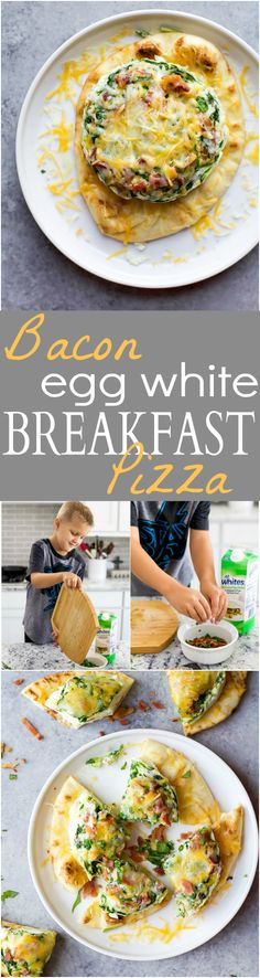 Bacon Egg White Breakfast Pizza a quick easy breakfast recipe perfect for the kids. This Breakfast pizza is loaded with bacon and spinach with 20 grams of protein and only 276 calories a serving!   #ad