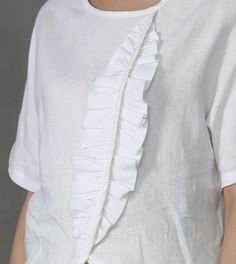 French Linen Top Blouse in Gray/White Earth Day Top Linen Linen Tunic, Linen Blouse, Tunic Blouse, Tunic Tops, White Tunic, Mod Dress, Top Pattern, Blouse Designs, Shirts