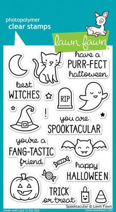 """Lawn Fawn """"""""Spooktacular"""""""" Clear Stamp Set"""