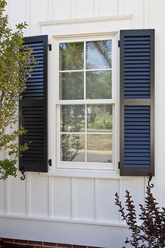 New exterior farmhouse shutters southern living Ideas Window Shutters Exterior, House Paint Exterior, Exterior Siding, Exterior Remodel, Exterior House Colors, Paint Shutters, Exterior Design, Bungalow Exterior, Exterior Signage