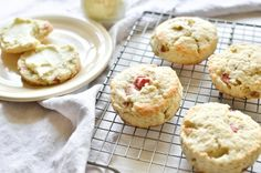 Rhubarb Scones ~ these pretty scones loaded with little bits of juicy rhubarb make a perfect breakfast or afternoon tea-time treat. Be sure to freeze some rhubarb when it's in season so you can enjoy them year round. Rhubarb Butter, Rhubarb Scones, Rhubarb Rhubarb, Breakfast Cake, Perfect Breakfast, Brunch Cake, Yogurt Breakfast, Breakfast Pastries, Breakfast Dishes