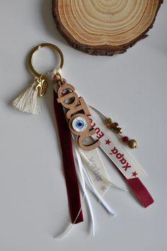 Γούρι μπρελόκ με ξύλινο μοτίφ φτου Personalized Items, Diy, Blue, Bricolage, Do It Yourself, Homemade, Diys, Crafting