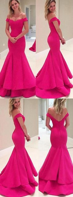 Mermaid Off-the-Shoulder Sweep Train Tiered Fuchsia Prom Dress with Ruffled M0436 #promdresses #longpromdresses #2018promdresses #fashionpromdresses #charmingpromdresses #2018newstyles #fashions #styles #teens #teensprom