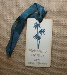 Items similar to Destination Wedding Welcome Tags, Navy Wedding Tags, Palm Tree Wedding Tags on Etsy Wedding Welcome Gifts, Wedding Gift Bags, Wedding Tags, Tree Wedding, Wedding Ideas, Welcome Gift Basket, Welcome Bags, Ribbon Colors, Ink Color