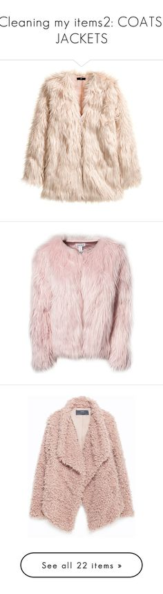 """Cleaning my items2: COATS, JACKETS"" by emilypondng ❤ liked on Polyvore featuring outerwear, jackets, coats, fur, dusty pink, pink faux fur jacket, faux fur jacket, lined jacket, h&m jackets and fake fur jacket"