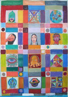 """""""Mosaico americano"""", acrylic on canvas, 29 x 42 cm By Diego Manuel"""