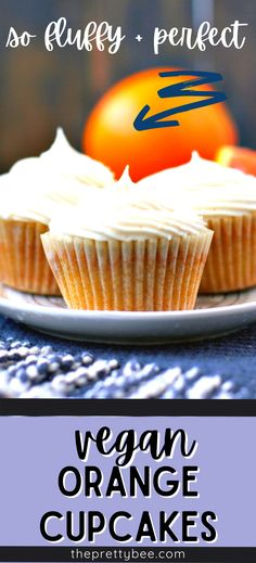 What a great use for winter citrus! These vegan orange cupcakes are light, fresh, and so fluffy! A swirl of vanilla frosting on top takes this easy recipe up a notch. #easy #best #frosting #recipe