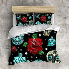 Genial Beautiful Red Rose And Teal Sugar Skull Design With By InkandRags Bedroom  Red, Bedroom Turquoise