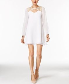 BCBGeneration Illusion Lace Shift Dress | macys.com