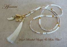 Bamboo coral & gold Tassel Hand Beaded Necklace.