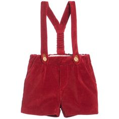 Nanos Red Cotton Velour Baby Shorts with Braces at Childrensalon.com