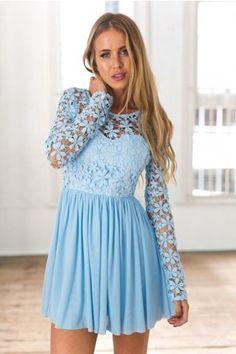 Light Blue Long Sleeve Crochet Tulle Skater Dress | USTrendy