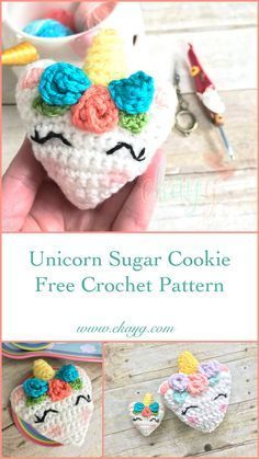 Unicorn Sugar Cookie, Free Crochet Pattern