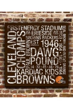 """Cleveland Browns Square Subway Art - 24"""" x 24"""" by Fan Favorite Football Art on @HauteLook"""