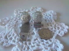 Vintage Silver Toned Unisex Mesh Cuff Links by Sarasvintageattic,